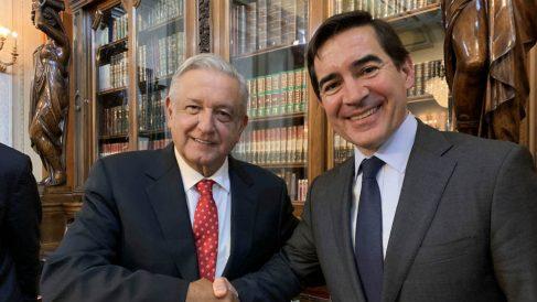 Carlos Torres (BBVA) y Andrés Manuel López Obrador