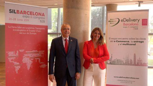 El presidente del SIL y eDelivery Barcelona, Pere Navarro, y por la directora general del CZFB y del SIL y eDelivery Barcelona, Blanca Sorigué.