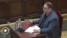 Oriol Junqueras durante su intervención en el Supremo por el juicio del 'procés'