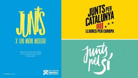 La campaña para marcar la X de la Iglesia en Cataluña y carteles utilizados por partidos separatistas