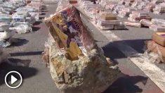La policía se incauta de 800 kilos de cocaína camuflados en 188 toneladas de rocas