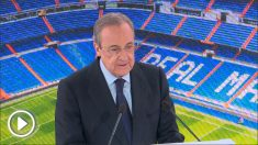Florentino Pérez durante la presentación de Eden Hazard.