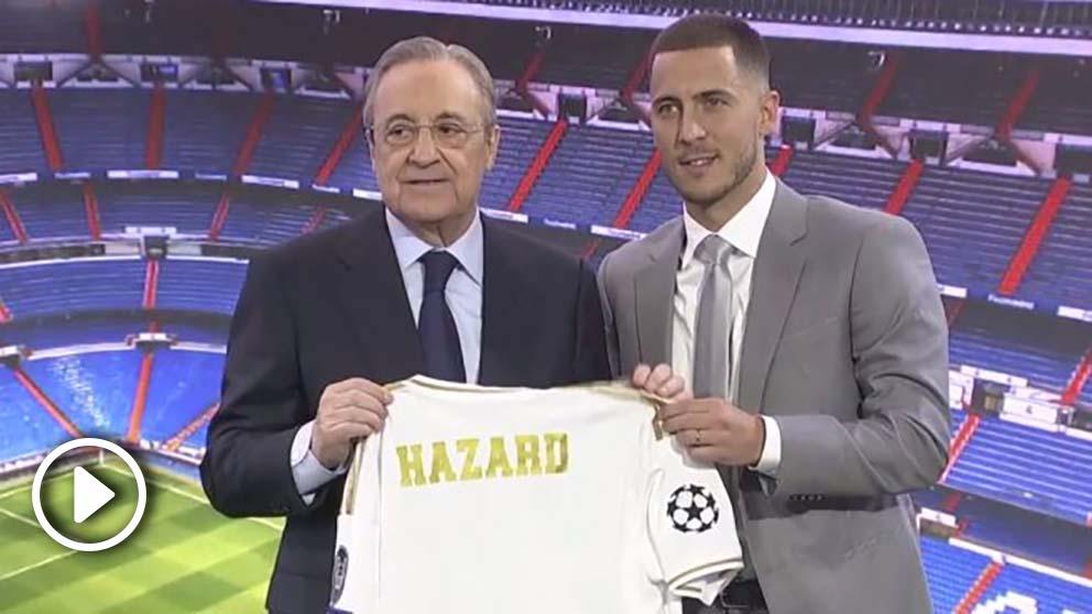 Florentino y Hazard posan con la camiseta del Real Madrid.