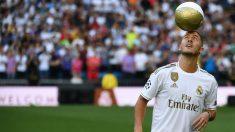 Eden Hazard, en su presentación con el Real Madrid. (AFP)