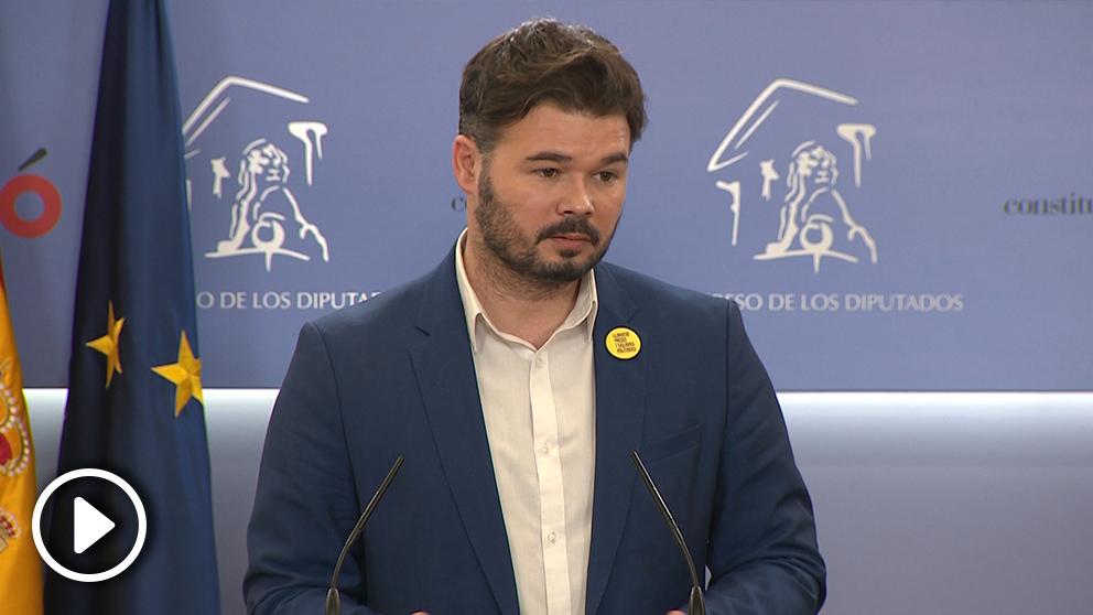 Gabriel Rufián, portavoz de ERC, llama «gamberro» a Vox cuando él fue expulsado del hemiciclo