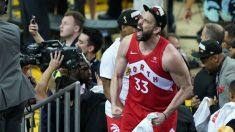 Marc Gasol grita liberado tras ganar la NBA por primera vez en su carrera. (AFP)