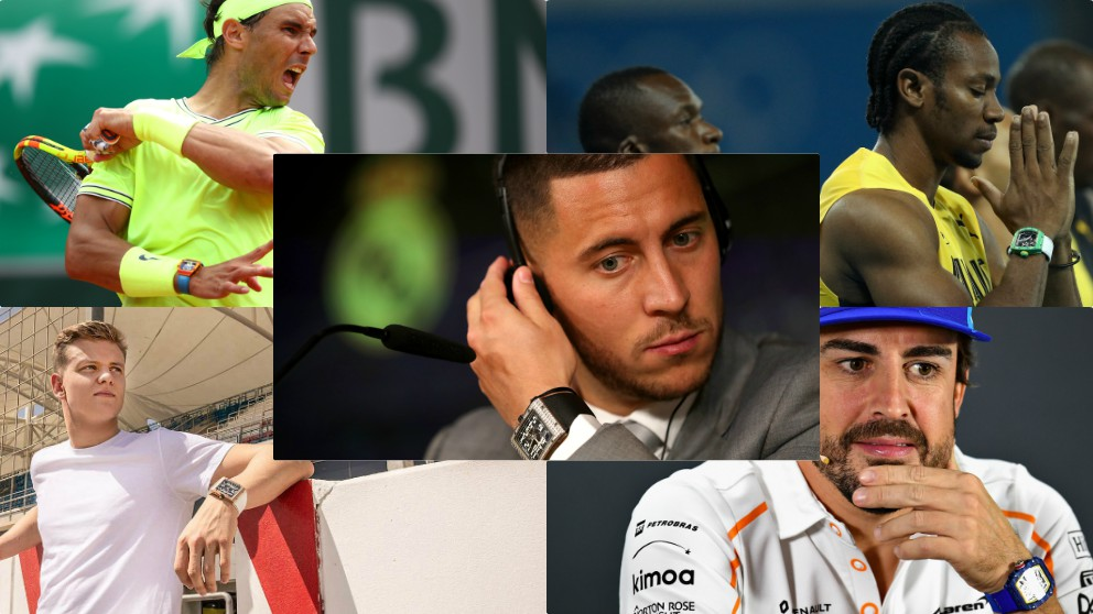 Rafa Nadal, Eden Hazard, Yohan Blake, Mick Schumacher y Fernando Alonso, luciendo un Richard Mille.