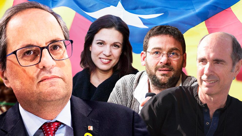 Quim Torra y sus «asesores» Beatriz Talegón, Albano Dante Fachin y Lluís Llach