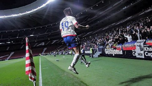 Aitor Ruibal celebra un gol con el Rayo Majadahonda  (Rayo Majadahonda)