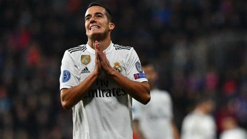 Lucas Vázquez, durante un partido con el Real Madrid. (AFP)