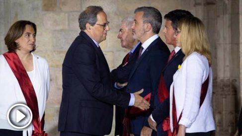 Manuel Valls niega el saludo a Torra en el Palau de la Generalitat.