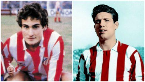 A la izquierda, Paco Llorente; a la derecha, Grosso; ambos con la camiseta del Atlético de Madrid, padre y abuelo de Marcos Llorente.