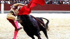 Pablo Aguado en el momento de entrar a matar a su primer toro y ser corneado (Foto: EFE).