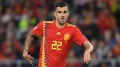 Ceballos, durante un partido con España.