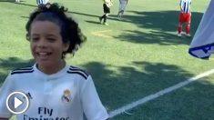El hijo de Marcelo celebra un gol.