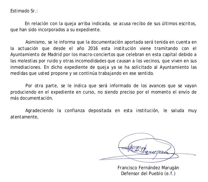 El Defensor del Pueblo apercibió a Carmena por permitir macroconciertos con niveles de ruido ilegales