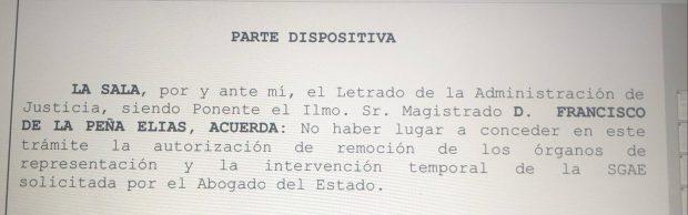 Golpe a Sánchez: la Audiencia Nacional rechaza intervenir la SGAE como le pidió el Gobierno