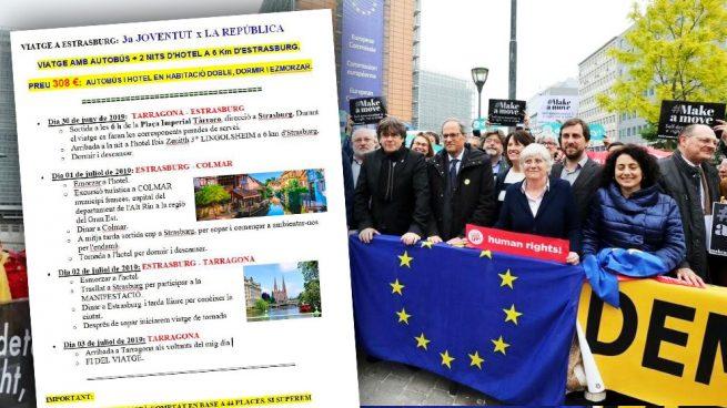 El separatismo catalán busca apoyos a su concentración en Estrasburgo ofertando viajes turísticos.