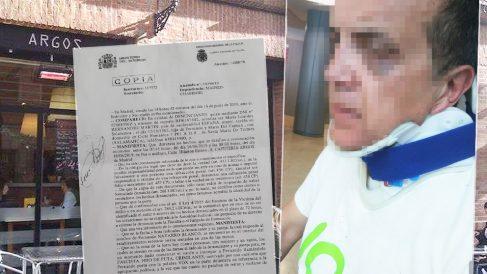 El hombre agredido por llevar una camiseta de Vox en Madrid.