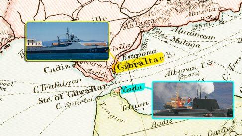 Situación del buque ruso y del submarino 'Astute' en el Estrecho de Gibraltar.