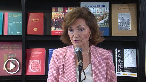 Carmen Calvo en rueda de prensa. Foto: EP