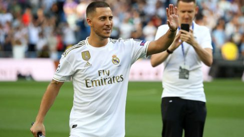 Hazard, el día de su presentación como jugador del Real Madrid. (AFP)