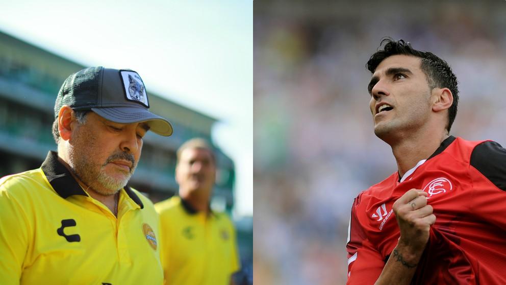 Diego Armando Maradona y José Antonio Reyes.