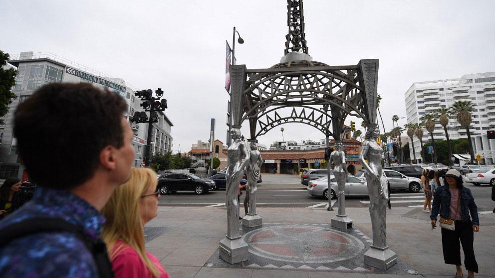 El mirador 'Ladies of Hollywood', en la esquina entre el bulevar y la avenida La Brea, donde se ubicada la estatua de Marilyn Monroe robada. Foto: AFP