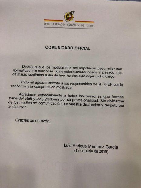 Luis Enrique renunció a la Selección con un breve comunicado