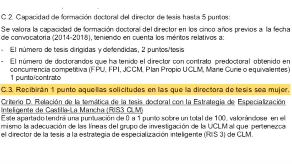 La Universidad de Castilla-La Mancha premia con un punto extra a «aquellas solicitudes en las que la directora de tesis sea mujer»