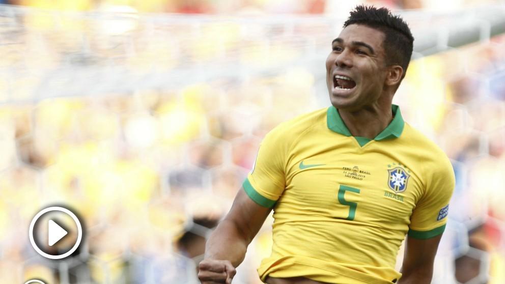 Así fue el gol de Casemiro contra Perú.