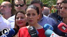 La portavoz de Ciudadanos, Inés Arrimadas, este domingo en Barcelona. (Foto: Atlas).