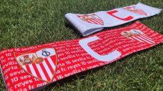Brazalete de capitán del Sevilla en el que homenajearán a José Antonio Reyes y Antonio Puerta. (@SevillaFC)