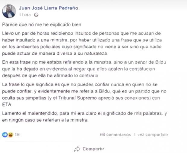 Nota aclaratoria publicada por Juan José Liarte en su perfil de Facebook.