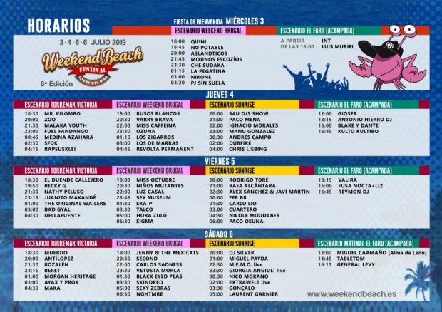 Weekend Beach Festival 2019: Cartel, actuaciones y horarios del festival de Torre del Mar