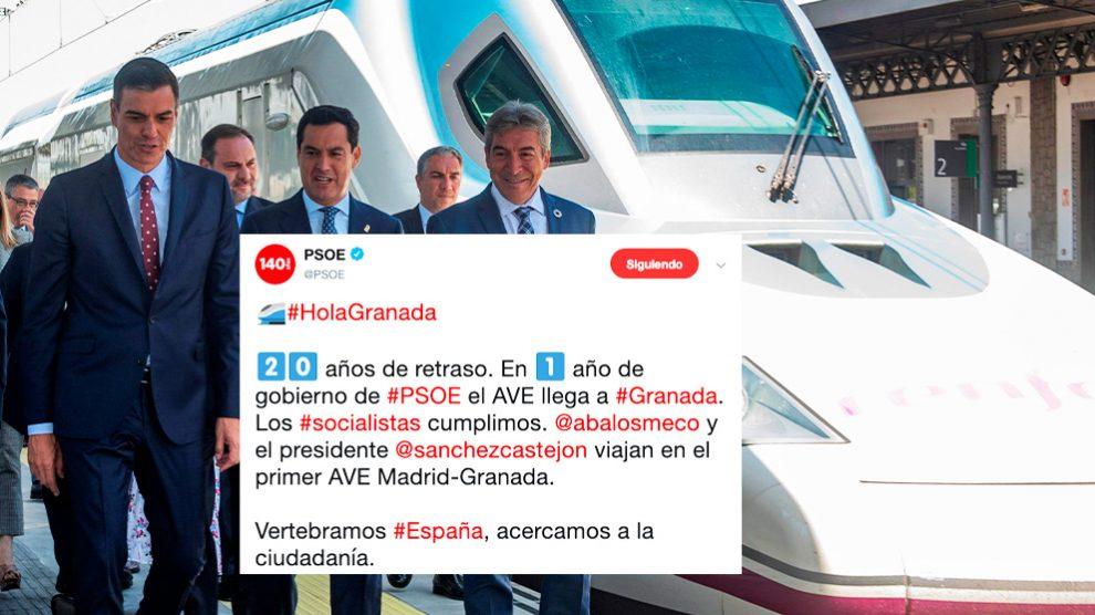 El tuit del PSOE con Pedro Sánchez inaugurando el AVE en Granada