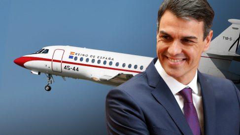 Pedro Sánchez y el avión oficial Falcon.