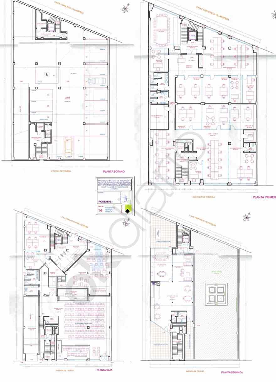 Las cuatro plantas del proyecto de nueva sede de Podemos. (Clic para ampliar)