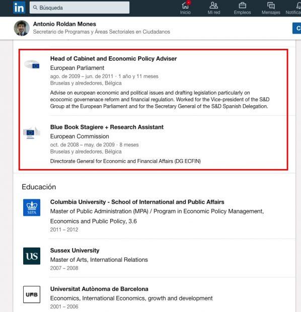 Perfil en LinkedIn de Toni Roldán.