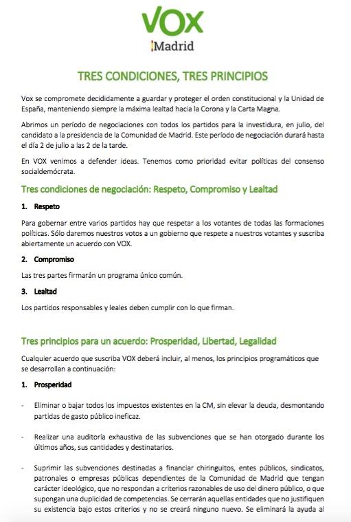 Exigencias de Rocío Monasterio. (Clic para ampliar)