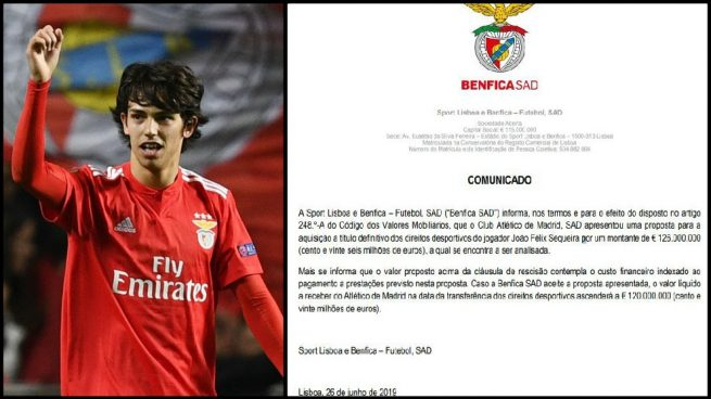 El Benfica comunica al Mercado de Valores una oferta del Atlético de 126 millones por Joao Félix
