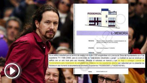 El líder de Podemos, Pablo Iglesias, y la portada del proyecto de reforma.