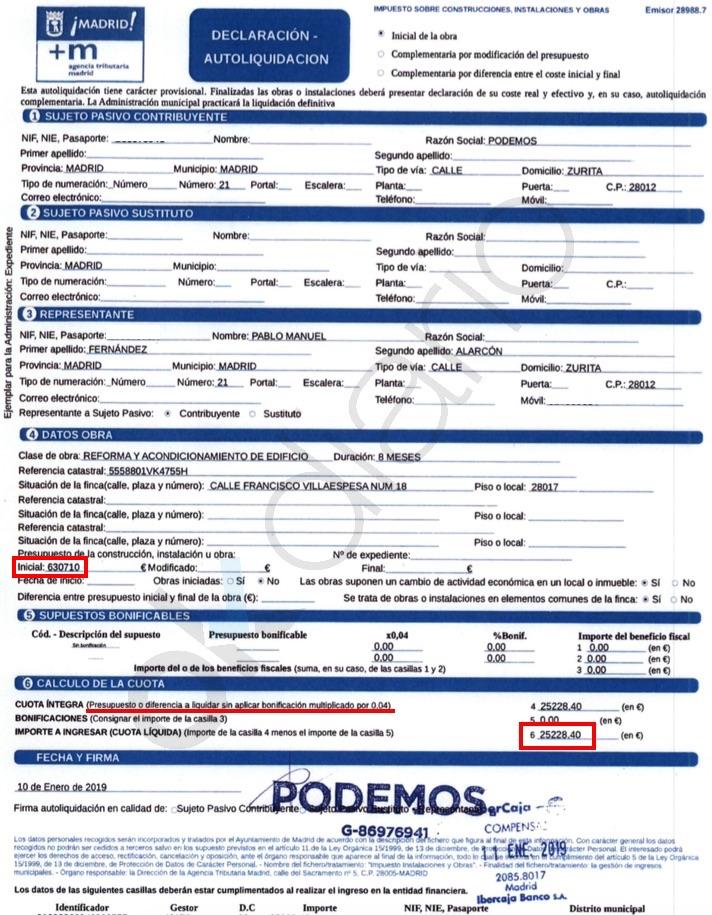 Tasa del ICIO de la nueva sede de Podemos. (Clic para ampliar)