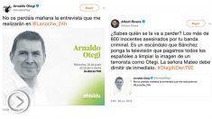 La respuesta de Albert Rivera al tuit de Arnaldo Otegi con el que promociona su entrevista en TVE