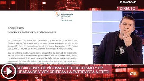 Arnaldo Otegi en TVE: «Pido perdón si hemos hecho más daño del que teníamos que hacer».