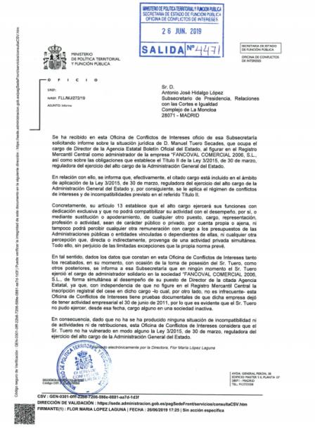 Informe de la Oficina de Conflictos