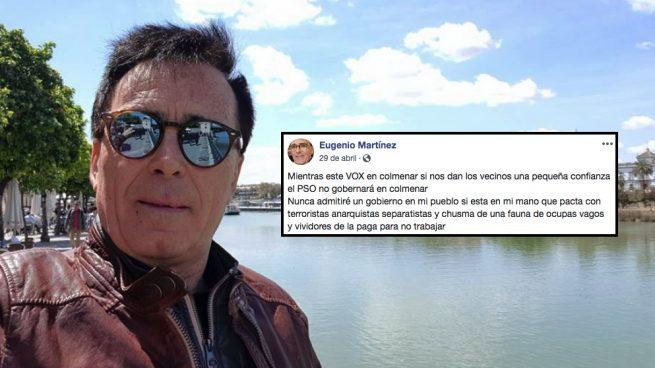 El candidato de VOX en Colmenar de Oreja y uno de sus mensajes en Facebook.
