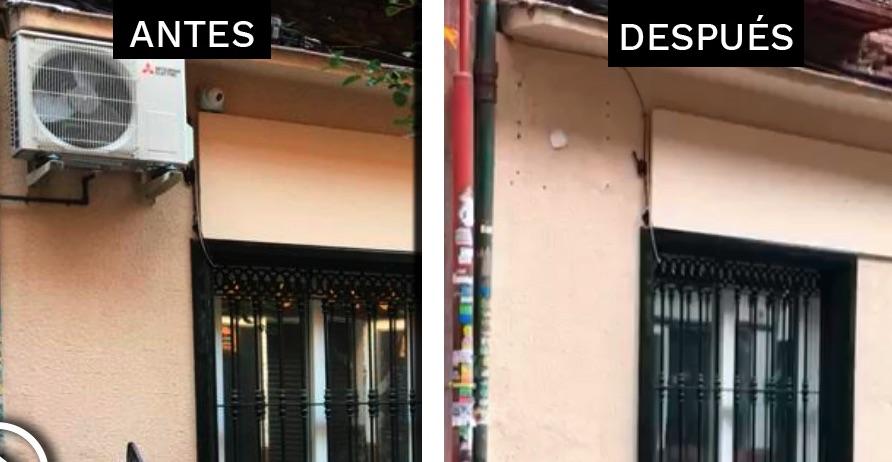 La fachada de la casa donde vive Echenique antes y después de las obras.