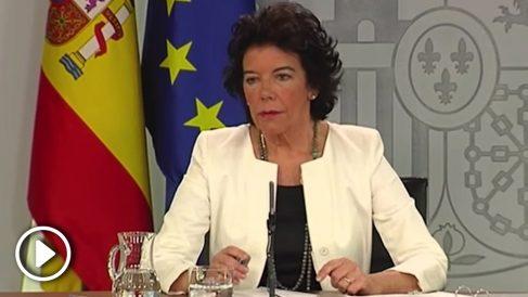 Celaá dice en rueda de prensa que la UME trabaja en un incendio «en territorio catalán español».