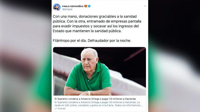 Echenique hace periodismo fake: acusa a Amancio Ortega de «defraudador» con una noticia de 2013